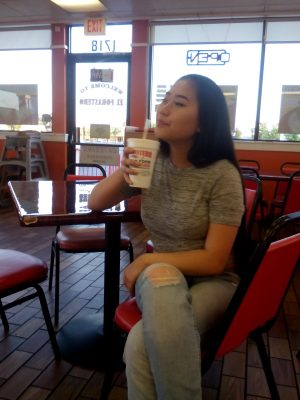 Here I am enjoying a cool horchata drink. It is refreshing.