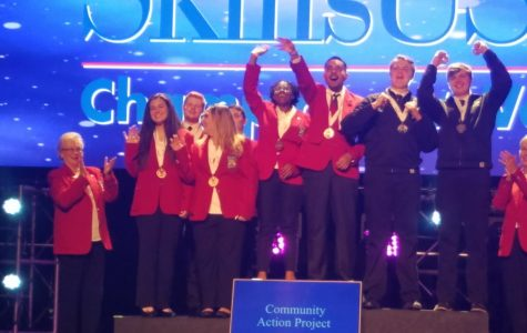 Chavez celebrates their victory in SkillsUSA Championships.