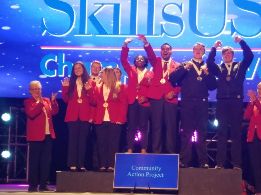 Chavez celebrates their victory in SkillsUSA Championships.
