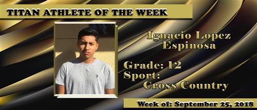 Ignacio named athlete of the week.