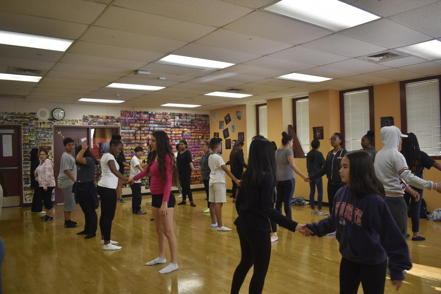 Dance class at CCHS prepares for another dance routine.