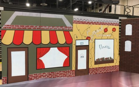 Stage design students created a small town backdrop.