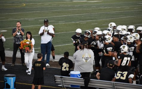 Chavez celebrated AP Roberts's birthday with flowers and a victory over Tokay.  Off camera being presented with a gift from Dr. Jackson, Administration, and the team.