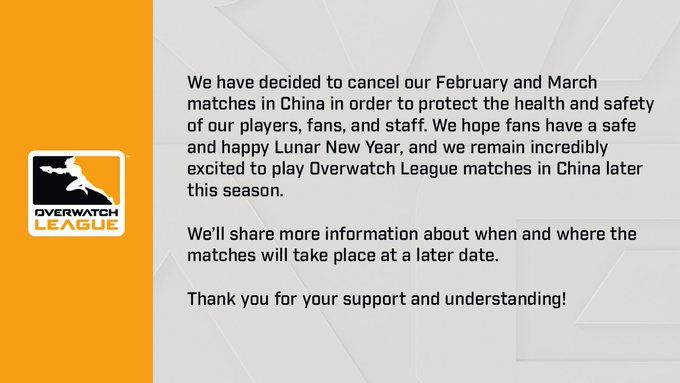 Overwatch League Cancels Games over Coronavirus Outbreak