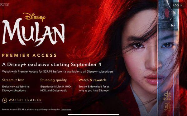 Mulan to Premier on Disney Plus