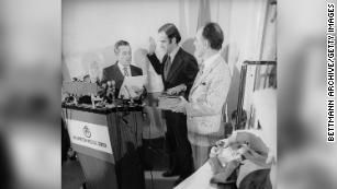 Joe Biden takes oath of office in 1973 with the Bible