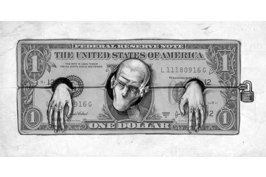 The sad reality of money in society depicted by this very sole image